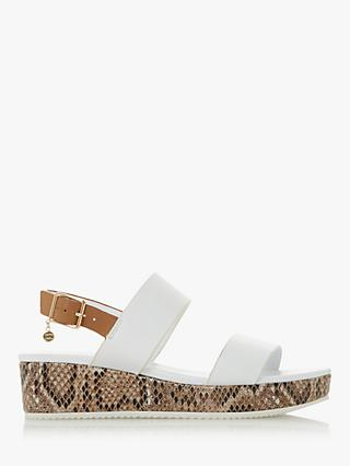 Dune Lennie Leather Flatform Sandals, White