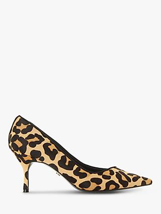 Dune Andres Leather Stiletto Heel Court Shoes, Leopard Print