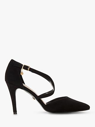 Dune Clancy Suede Cross Strap Pointed Toe Court Shoes