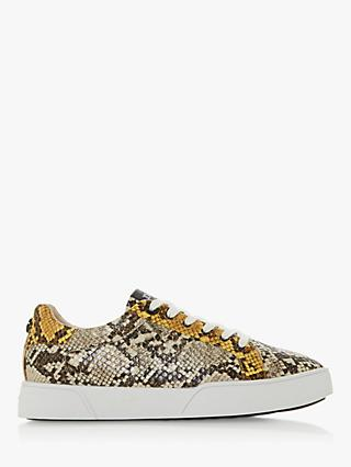 Dune Ellenie Lace Up Trainers, Reptile print