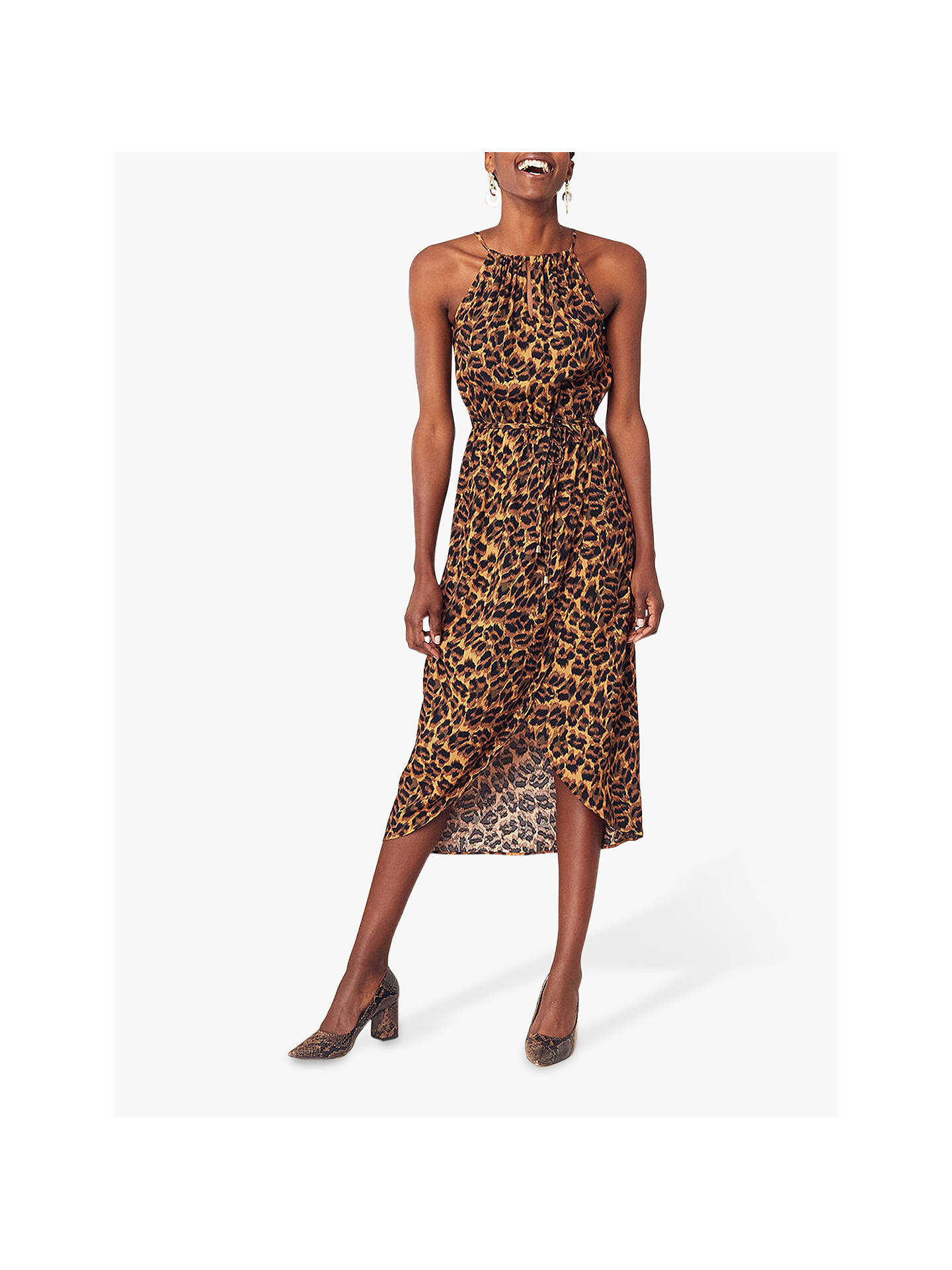 e86035183ae5 Buy Oasis Leopard Print Halter Dress, Multi, 6R Online at johnlewis.com ...