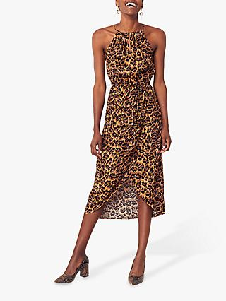 Oasis Leopard Print Halter Dress, Multi