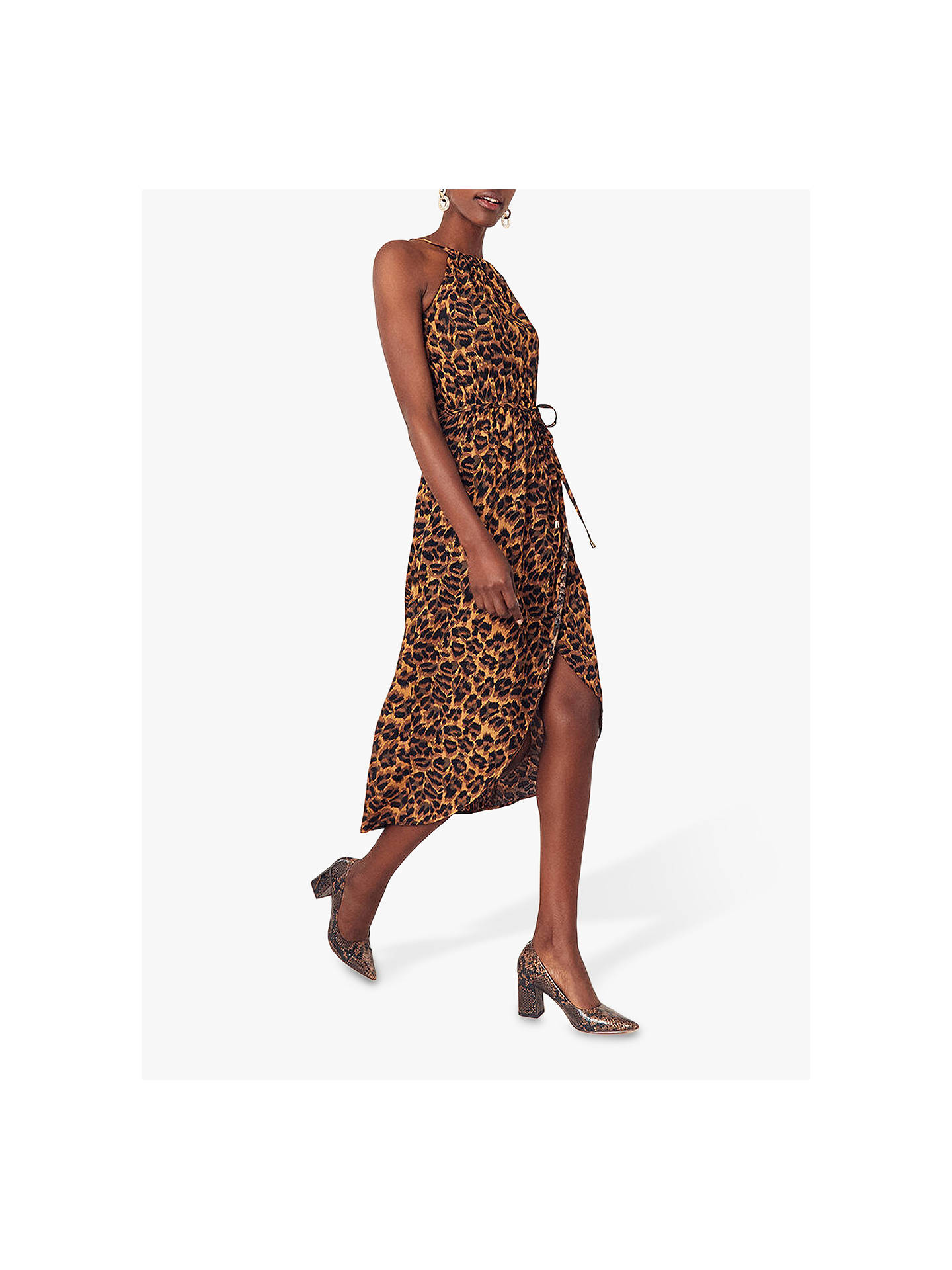 fddbd541d9a8 ... Buy Oasis Leopard Print Halter Dress, Multi, 6R Online at johnlewis.com  ...