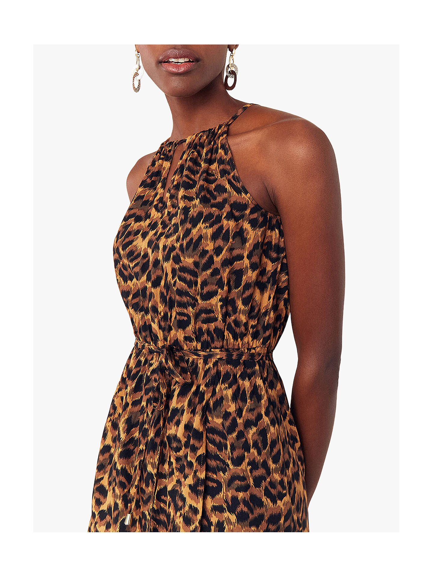 fcef50995767 ... Buy Oasis Leopard Print Halter Dress, Multi, 6R Online at johnlewis.com