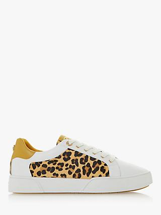 Dune Ellenie Leopard Print Lace Up Trainers, Multi