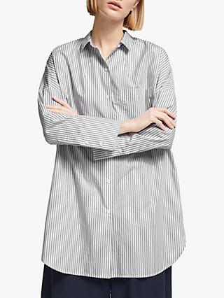 Kin Stripe Cotton Poplin Stripe Shirt, Grey/White