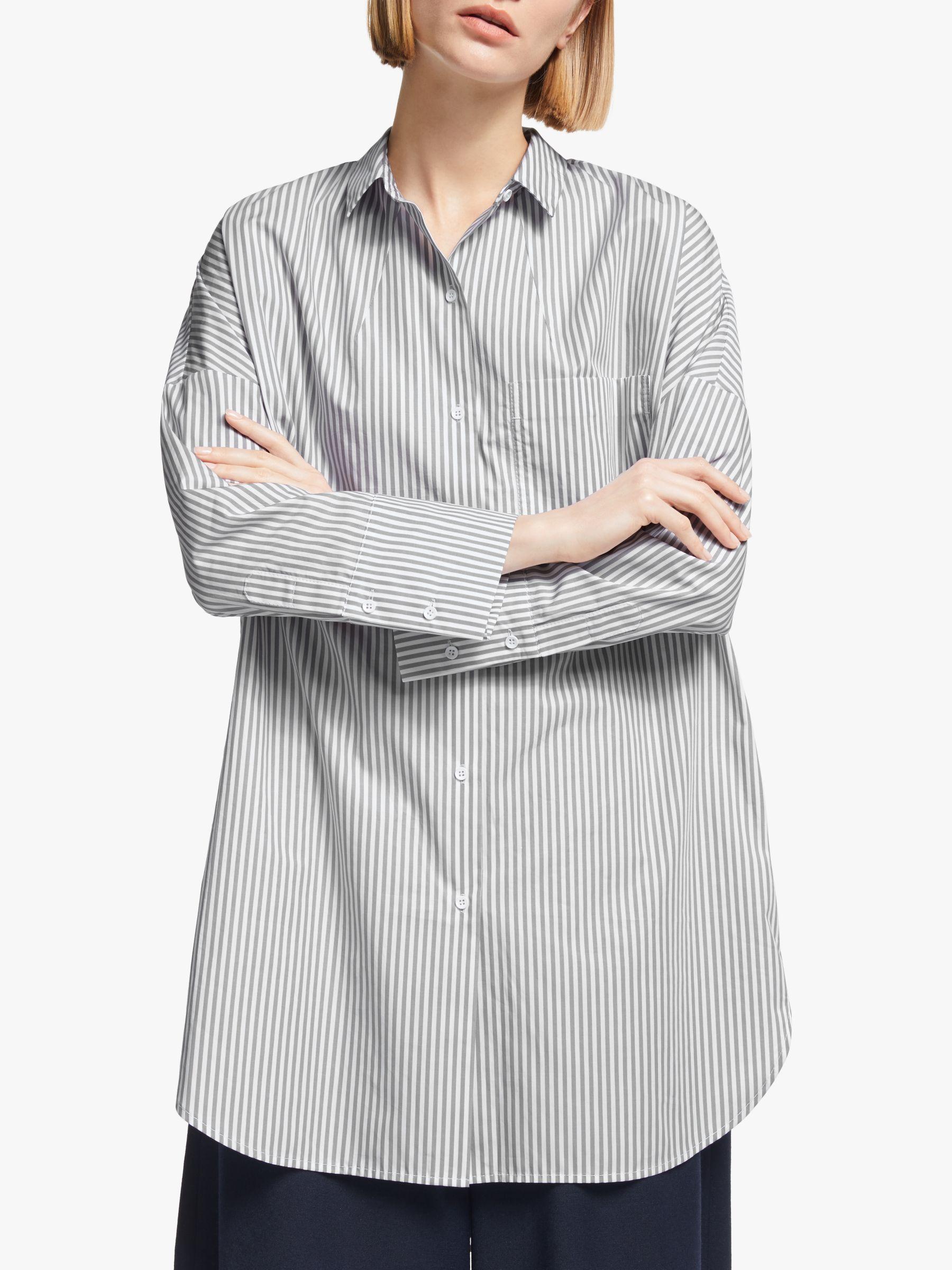 Kin Kin Stripe Cotton Poplin Stripe Shirt, Grey/White