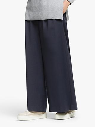 Kin Wide Leg Crop Trousers, Navy