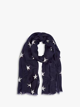 Mint Velvet Star Print Scarf, Dark Blue