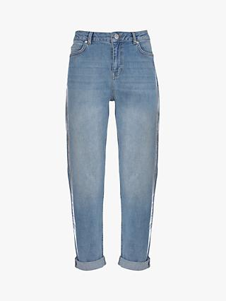 Mint Velvet Dakota Foiled Boyfriend Jeans, Light Blue