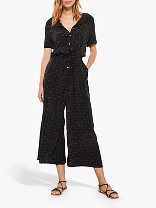 Mint Velvet Serena Wide Leg Jumpsuit, Black/Multi