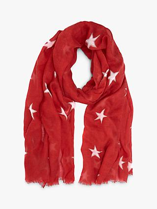 Mint Velvet Star Print Scarf, Red