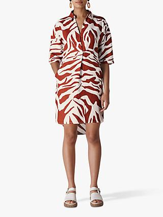 Whistles Zebra Print Linen Shirt Dress, Multi