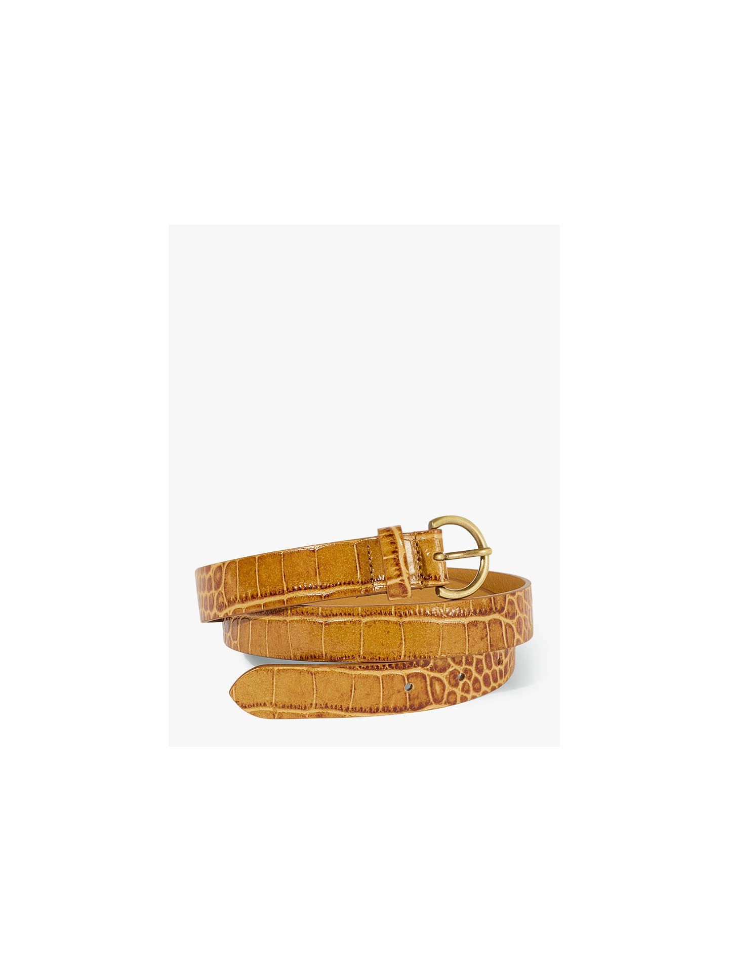 163809c66 Buy Jigsaw Thin Croc Embossed Leather Belt, Tan, S Online at johnlewis.com  ...