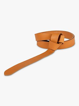 Jigsaw Leather Knot Belt, Tan