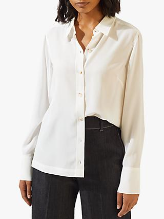 Jigsaw Silk Shirt, Ivory