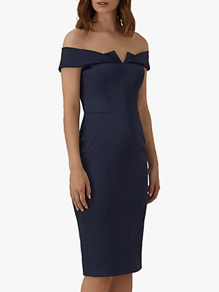 Karen Millen Satin Pencil Dress, Navy