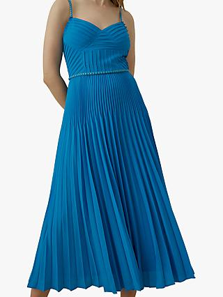 Karen Millen Chain Detail Pleated Maxi Dress