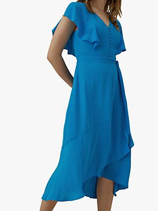 Karen Millen Button Front Midi Dress, Blue