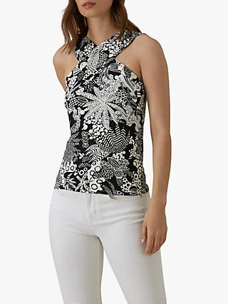 Karen Millen Halter Neck Tropical Print Top, Black/White