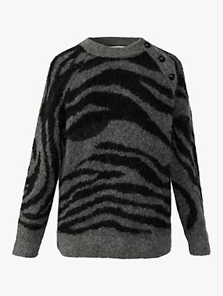 Gerard Darel Solange Zebra Print Button Detail Jumper, Grey/Black