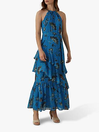 Karen Millen Floral Maxi Dress, Blue