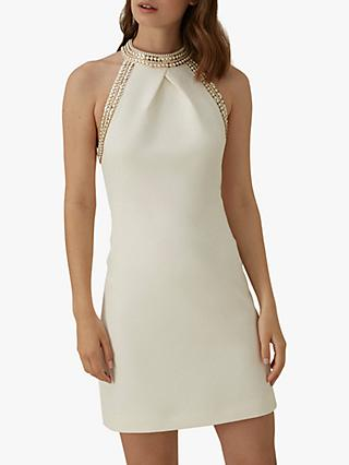 Karen Millen Chain Detail Mini Dress, Ivory