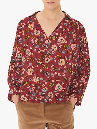 Gerard Darel Mathis Floral Blouse, Burgundy/Multi