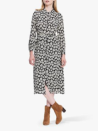 Gerard Darel Dilys Leaf Print Silk Dress, Black