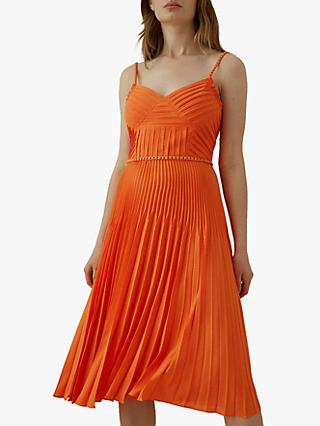 Karen Millen Chain Detail Pleat Dress, Orange