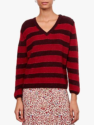 Gerard Darel V-Neck Stripe Jumper, Red