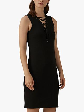 Karen Millen Lace Up Dress, Black
