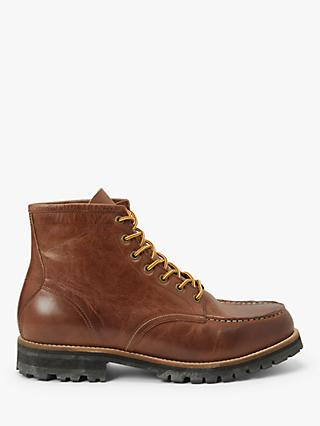 John Lewis & Partners Nevis Leather Apron Toe Work Boots, Tan