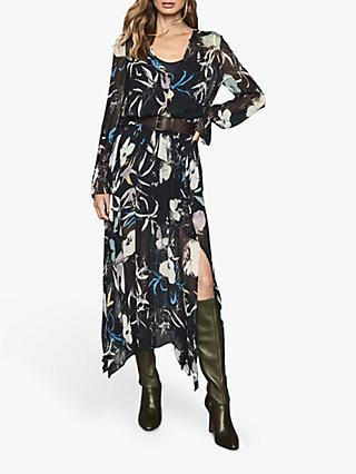Reiss Carina Spring Floral Midi Dress, Navy