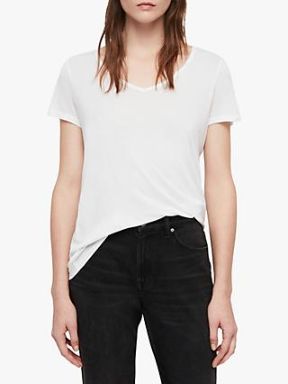 AllSaints Malin Silk Blend T-Shirt, Optic White