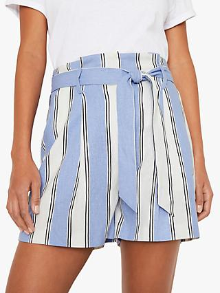 Warehouse Striped Linen Blend Shorts, Blue