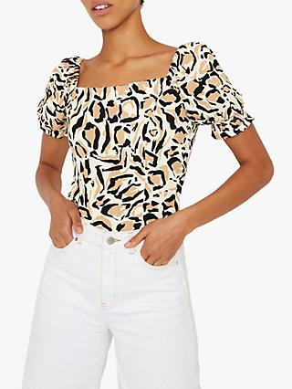 Warehouse Square Neck Leopard Print Top, Neutral