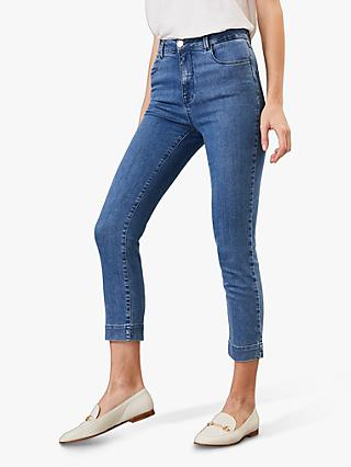 Phase Eight Ramona Straight Leg Cropped Jeans, Blue
