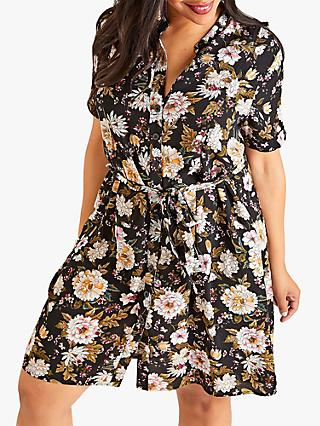 Yumi Autumnal Flower Print Shirt Dress, Black