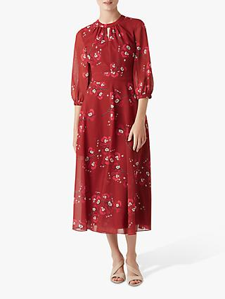 Hobbs Samantha Dress, Burgundy Cerise