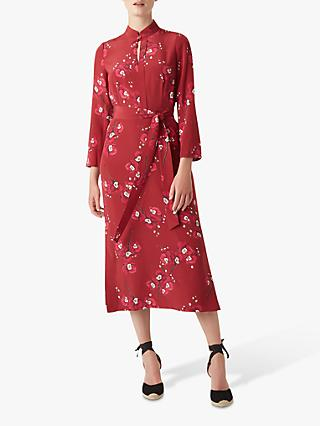 Hobbs Margot Silk Dress, Burgundy Cerise