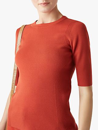 Hobbs Rachel Ribbed Jumper, Burnt Orange