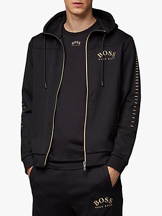 BOSS Saggy Win Zip-Up Logo Hoodie, Black