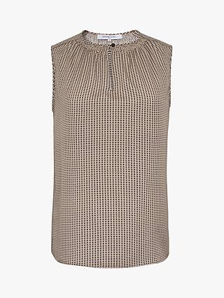 Gerard Darel Manille Abstract Print Sleeveless Blouse, Ecru