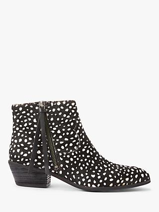 AND/OR Paquita Leopard Pony Hair Ankle Boots, Black/White