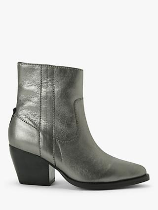 Kin Paxley Leather Ankle Boots, Silver
