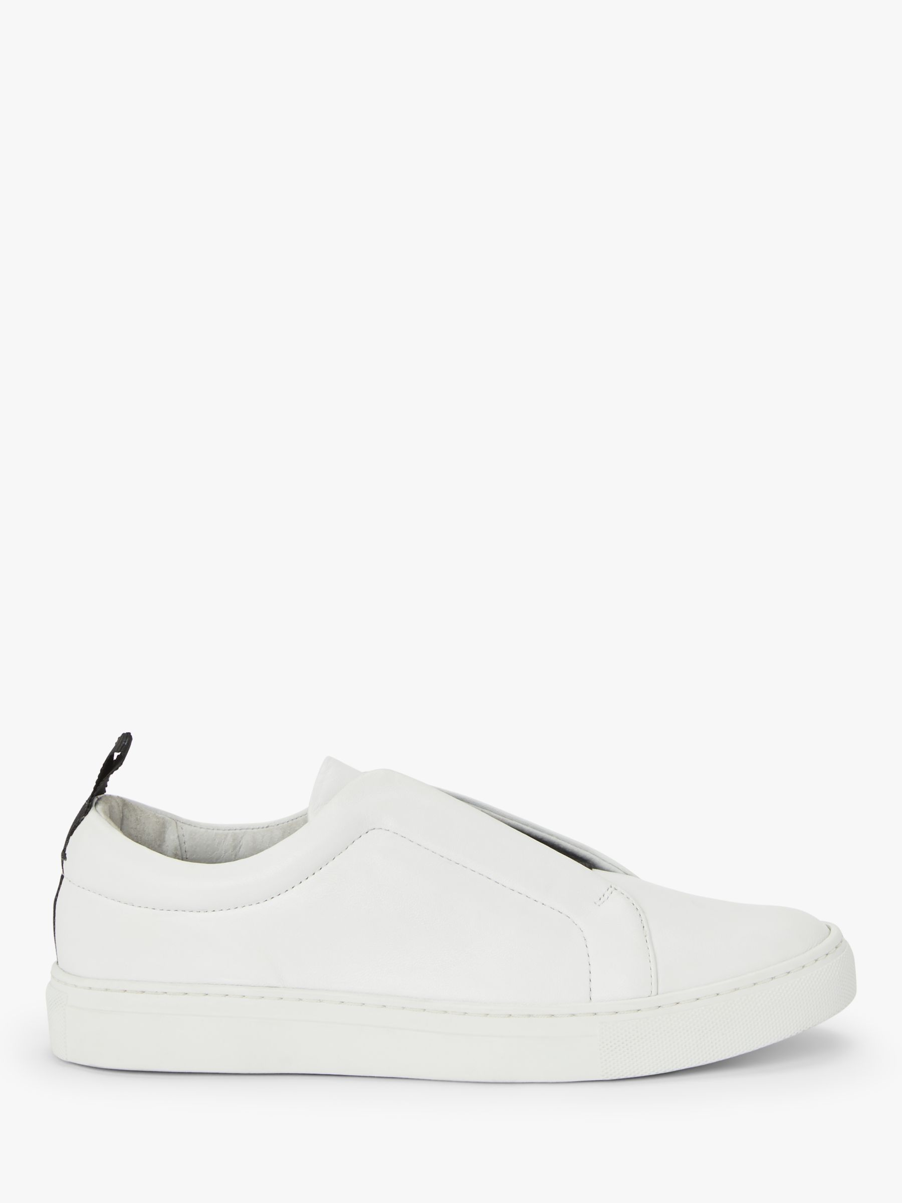 Buy Kin Enni Leather Slip On Trainers, White, 3 Online at johnlewis.com