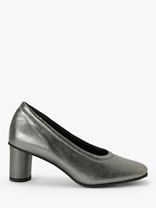 Kin Alisha Leather Cylindrical Heel Court Shoes, Silver