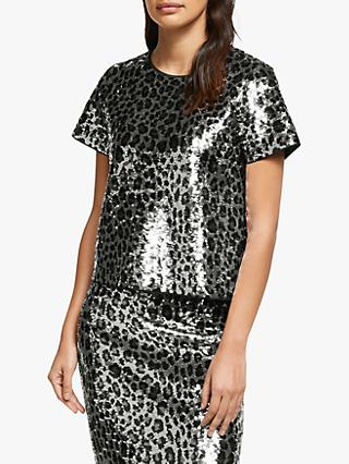 MICHAEL Michael Kors Cheetah Sequin Top, Gunmetal