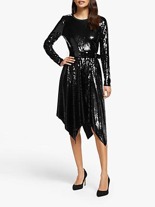 MICHAEL Michael Kors Sequin Handkerchief Hem Dress, Black